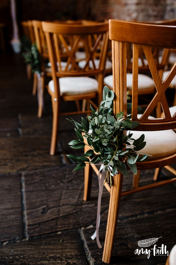 pretty foliage on wooden chair