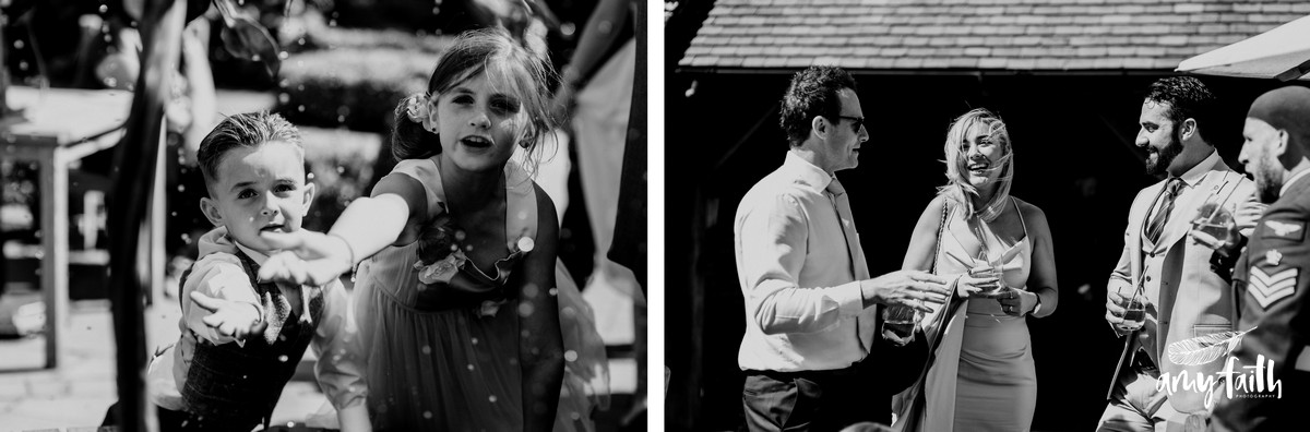 Documentary black and white photographs of happy guests at a wedding