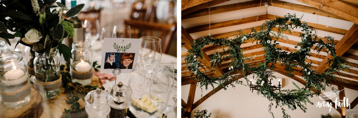 Green foliage wedding decor in converted barn