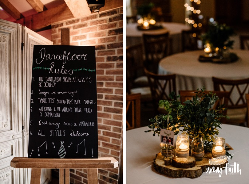 Chalkboard dancefloor rules and nighttime table centrepiece with foliage and candles