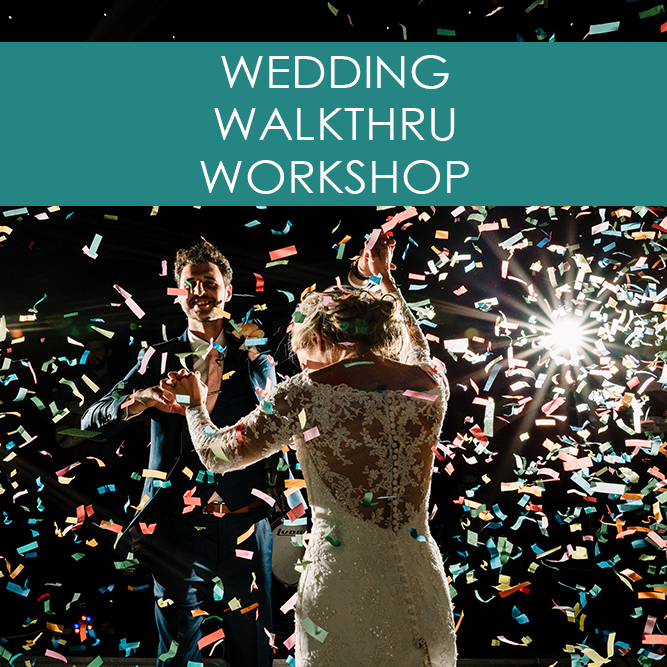 Wedding walkthrough workshop advert for new or amateur photographers