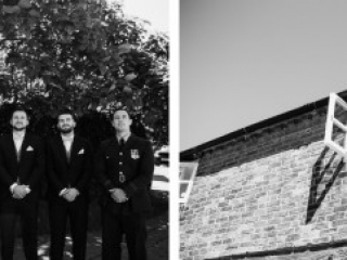 amy faith photography creative documentary wedding photographer black and white portraits of groomsmen at wedding