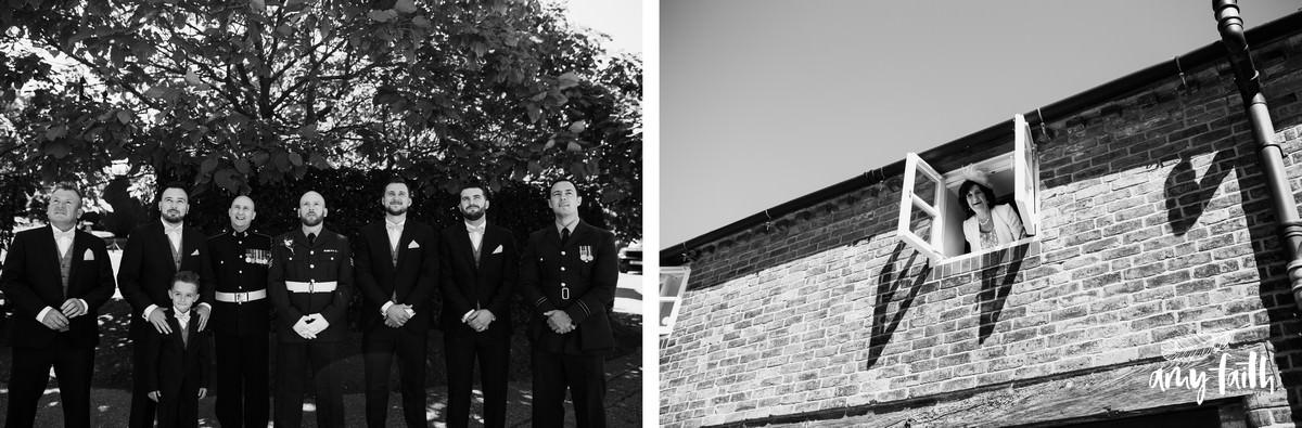 amy faith photography creative documentary wedding photographer black and white portraits of groomsmen at wedding
