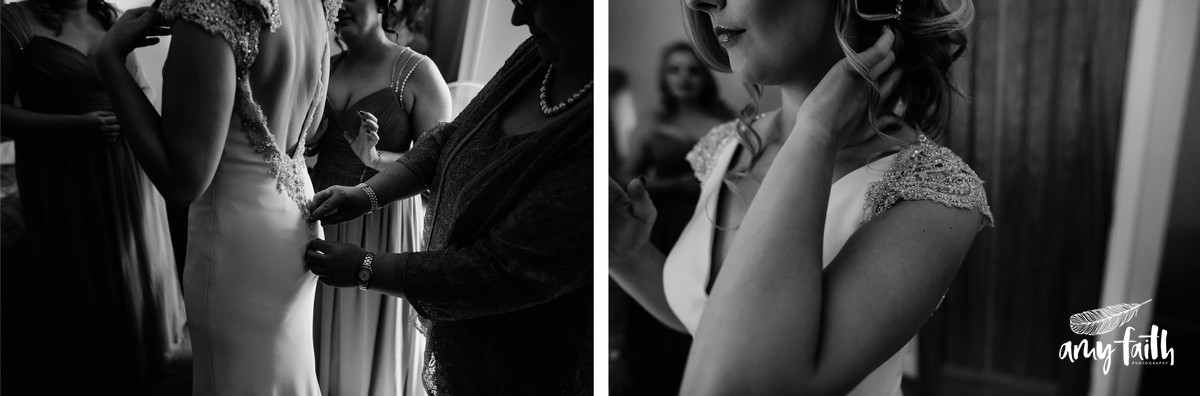 creative documentary wedding photographer black and white portraits of bride in beaded wedding dress