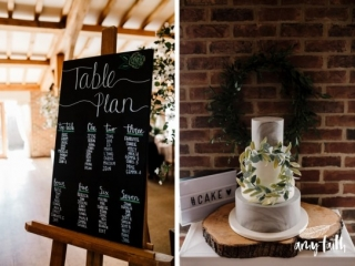 Chalkboard table plan and marble effect cake with wreath details on slice of tree trunk.