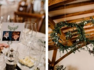 Green foliage wedding decor in converted barn