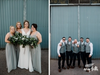 Smiling bride with her bridesmaids, laughing groom with his groomsmen