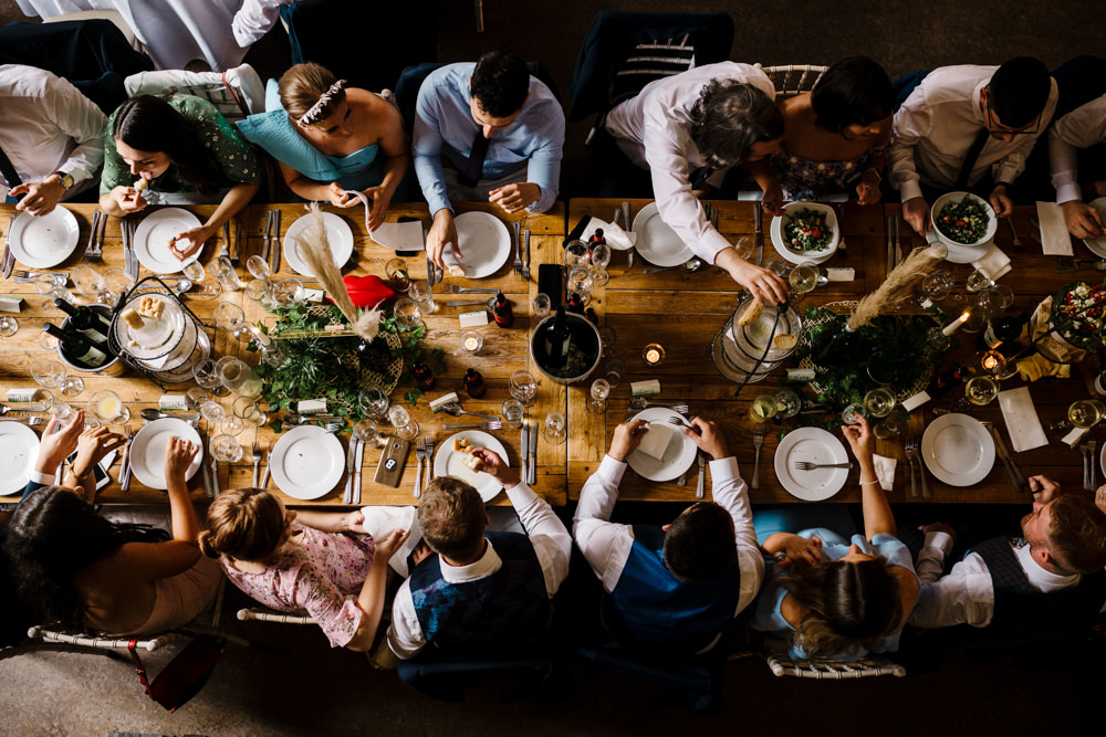 A shot of a dinner table from above.