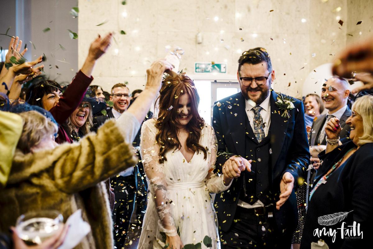 A bride and groom's confetti reception