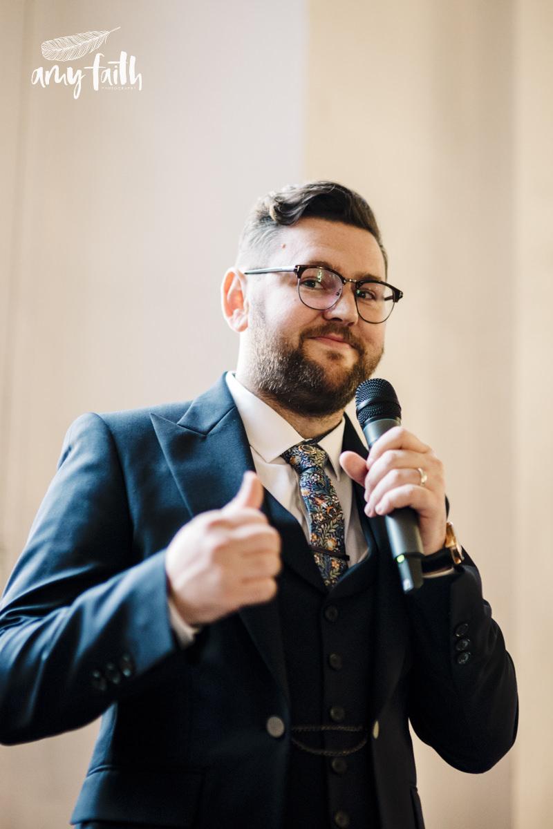 A groom giving a speech