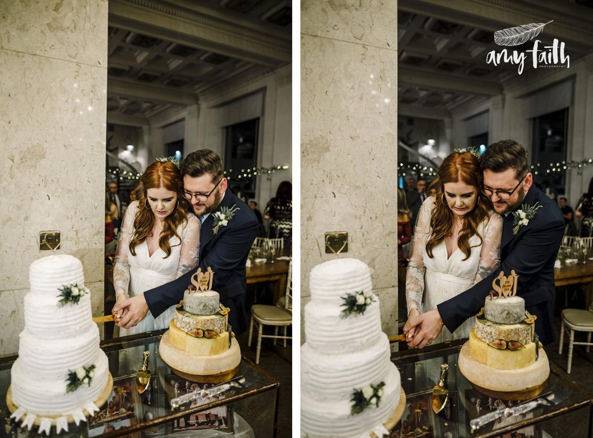 A bride and groom cutting a wedding cake